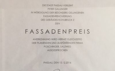 Fassadenpreis der Stadt Passau erhalten!